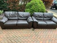 Brown leather suite, two and three seater sofa, couch, settee, sofabed(free delivery🚚🚚🚚)