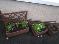 HANDMADE SET OF 3 PLANTERS incl Flowers *REDUCED* uncollected order