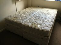 King size bed with Dunlopillo mattresses - could be separated in two singles; adjustable bed-frame