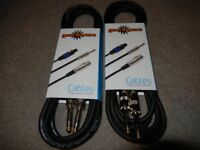 "Stereo Jack - Stereo Jack Cables. 3m Shielded Balanced 1/4"" Connectors. Pair, New"
