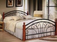Metal and wood double bed for sale