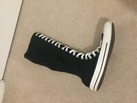 Black converse high knee lace up boots size 6