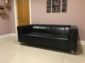 Pair of matching black leather sofas for sale - Ikea Klippan