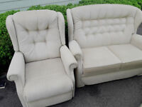 Electric riser recliner chair, dual motor and 2 seater sofa - Sherborne suite VGC