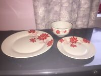 Set of crockery - 7 plates, side plates and bowls