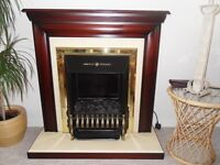 Fire and fire surround - dark wood in excellent condition