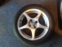 Toyota mr2 alloys wheels 4 good part worn tyres .