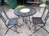 LOVELY WROUGHT IRON GARDEN TABLE AND TWO CHAIRS