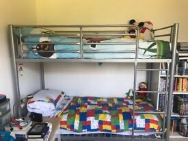 Silver short bunkbed ideal for a small room