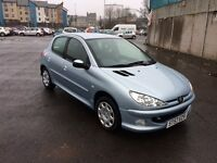 57 plate peugeot 206 silver 1.4 petrol 12 month mot only done 33000miles !!!