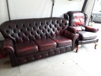 Leather Chesterfield and matching chair