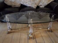 DESIGNER TOUGHENED GLASS AND BRASS CLAW FEET COFFEE TABLE