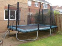 "12"" X 8"" Rectangular Trampoline in Excellent Condition with Safety Net & Ladder"