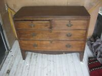 ANTIQUE VICTORIAN MAHOGANY CHEST OF DRAWERS. '2 OVER 2' LAYOUT. VIEWING/DELIVERY AVAILABLE