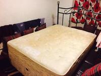Double Bed with mattress and metal headboard £30