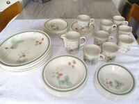 Wedgwood Raspberry Cane dinner service- detergent and dishwasher proof-43 pieces