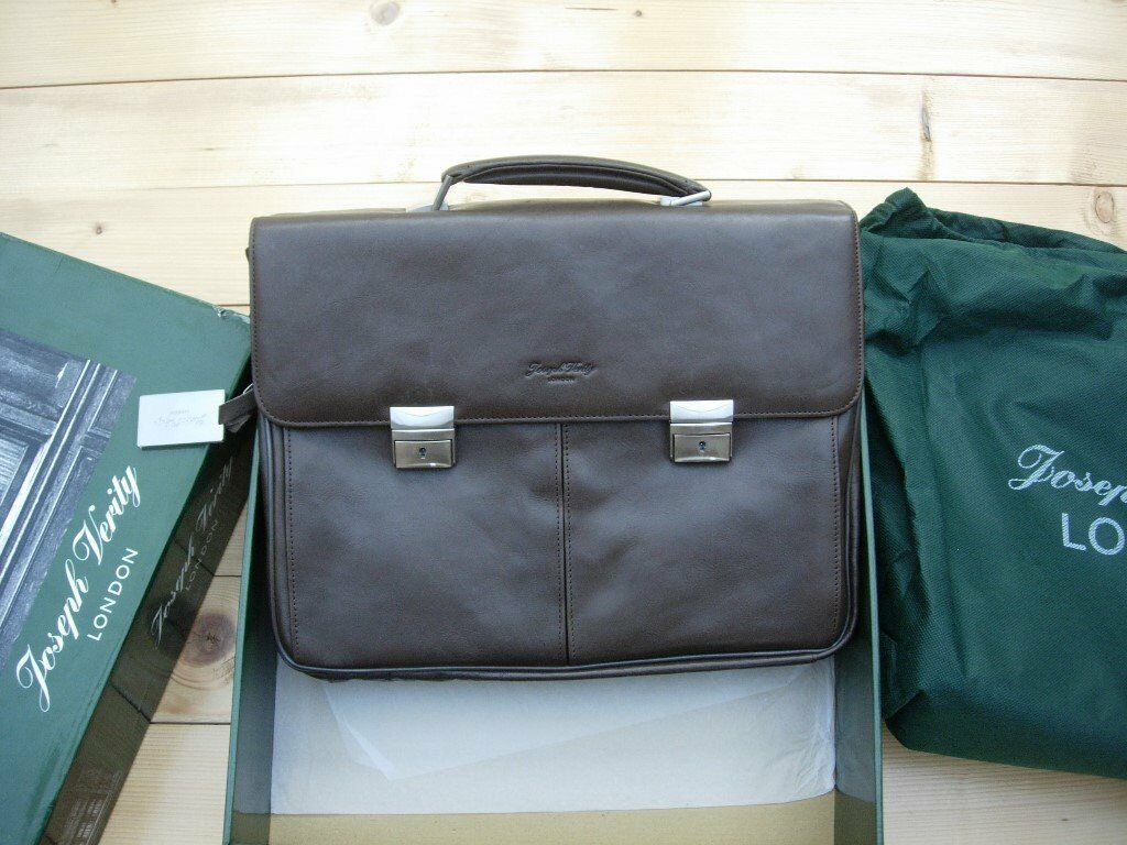 LEATHER LAPTOP BAG / BRIEFCASE (Joseph Verity London) - Boxed