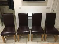 Solid oak and leather dining chairs oak furniture land