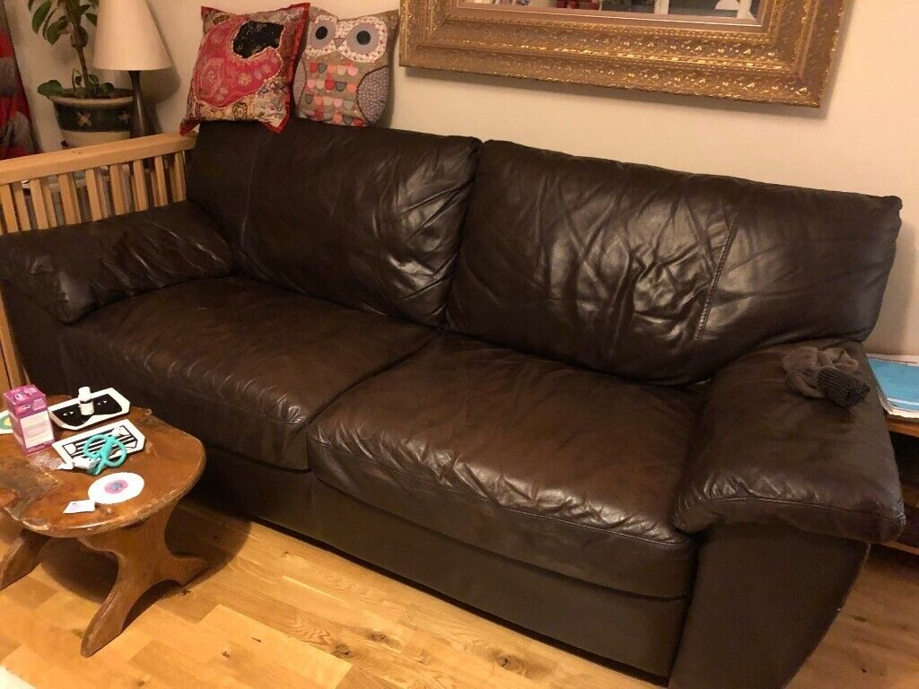 Pleasant Comfy Faux Leather Brown 2 3 Seater Sofa In Hackney London Gumtree Ncnpc Chair Design For Home Ncnpcorg