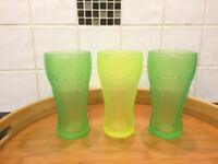 Three 33cl Coca-Cola glasses
