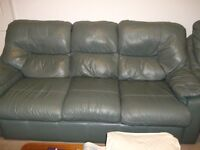 3 Piece Sage Green Leather G Plan Settee and 2 Chairs
