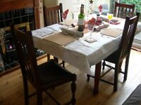 Vintage Extendable Dining Room Table and 6 Chairs ( antique , c 1920 s )
