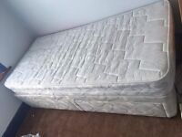 Single divan bed 3ft x 6ft with two drawer storage come with mattress protector.