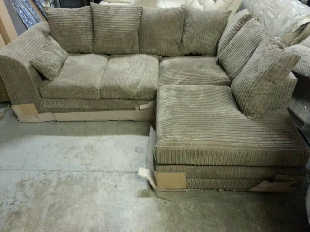 A brand new baige jumbo cord corner group sofa .