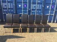 Faux Brown Leather Chairs X 6 Good Condition,Free Delivery In Norwich.