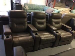 Top Grain Leather   Power Reclining Home Theatre Seating