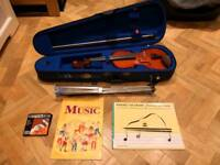 Stentor 3/4 Violin, Dominant Strings, Stand & Books