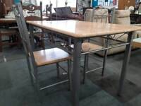 Modern Wood and Alloy Metal Framed Dining Table With 2 Chairs. 6 Available. Price Each.