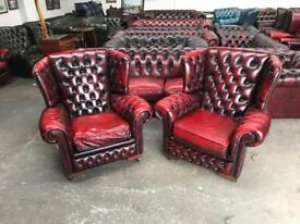 Pair of fantastic vintage oxblood leather chesterfield wingback chairs UK delivery