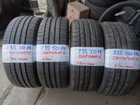 MATCHING SET 235 50 18 CONTISPORTS 7mm TREAD £80 PAIR SUP & FITD £150 SET SUP & FITD OPN 7 DYS 6PM