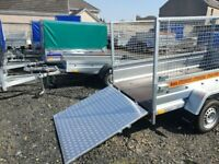BRAND NEW MODEL 8.7x4.2 TWIN AXLE TRAILER WITH 80CM MESH WITH RAMP TIPPING