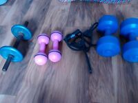 Mix of fitness weights , dumbells , everlast