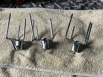 Chrome Plated Gas Grill Rotisserie Large  Meat Forks