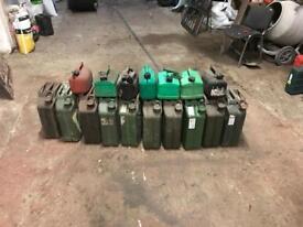 10 x 20L Gerry cans & 7 x 5L petrol cans
