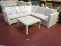 WOODEN WHITE WASHED CORNER UNIT AND TABLE