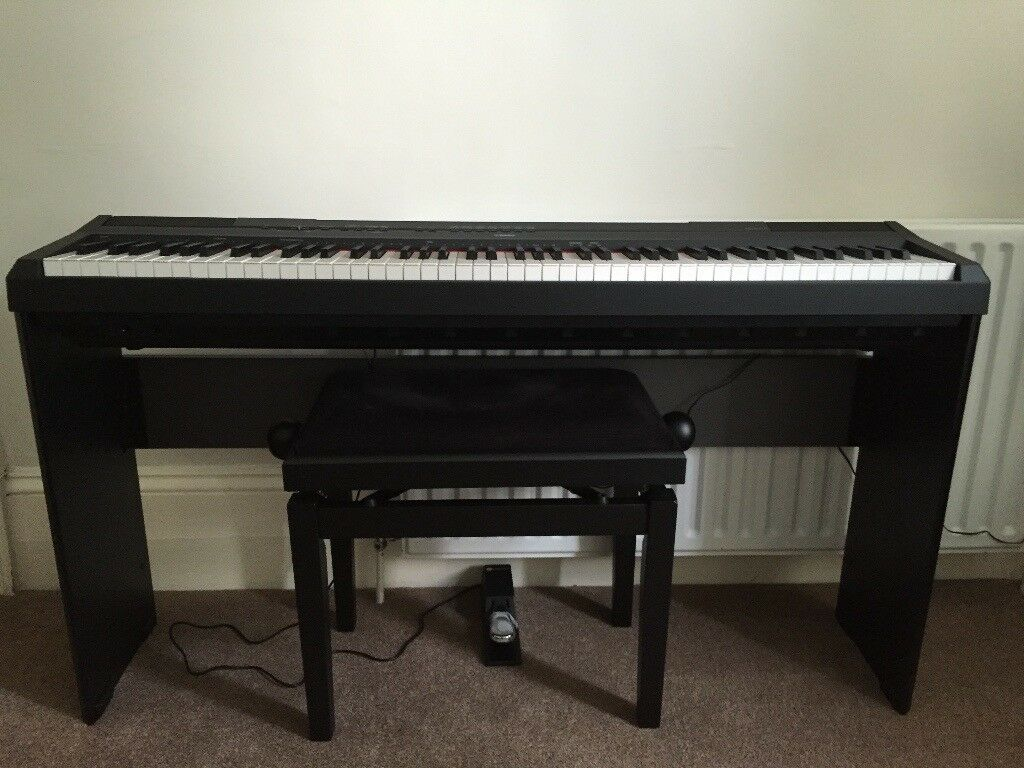 yamaha p115 digital piano with yamaha l85 stand pedal and piano bench in horsham west sussex. Black Bedroom Furniture Sets. Home Design Ideas