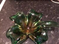 Heavy glass clover bowl