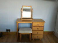 PINE DRESSING TABLE C/W MIRROR AND STOOL