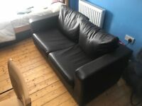 Brown Leather Sofa Bed - Perfect Condition