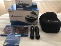 PlayStation VR, Camera, Controllers, Games and Case