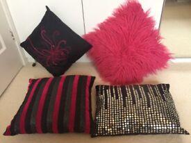 Black and Fuchsia Pink Cushion Bundle