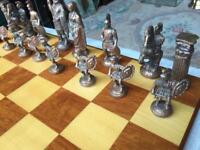 Cast metal chess set & board, Greek/Roman theme.