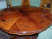 Reduced for quick sale to £200: Round table, perfect ,48 inches diameter patterned top and 6 chairs