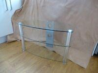 Vivanco clear glass TV stand