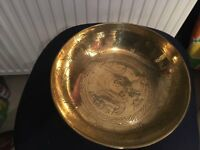 Vintage Chinese Decorated Brass Bowl on Wooden Stand