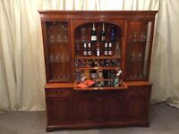 Yew Display Unit With Cocktail Bar - Dresser Sideboard